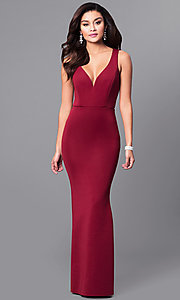 Image of v-neck long prom dress with ruffled bustle. Style: MCR-2083 Detail Image 1
