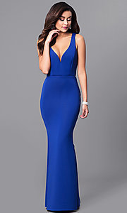Image of v-neck long prom dress with ruffled bustle. Style: MCR-2083 Front Image