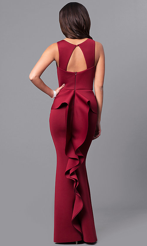 Image of v-neck long prom dress with ruffled bustle. Style: MCR-2083 Back Image