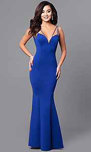 Image of long prom dress with sweetheart deep v-neckline. Style: MCR-1702 Detail Image 2