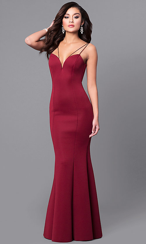 Image of long prom dress with sweetheart deep v-neckline. Style: MCR-1702 Back Image