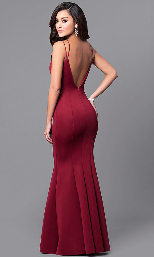 Image of long prom dress with sweetheart deep v-neckline. Style: MCR-1702 Front Image