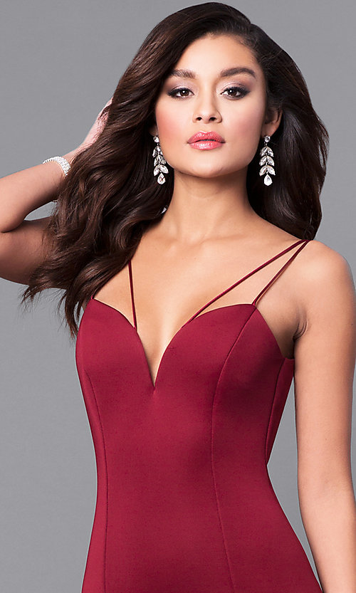 Image of long prom dress with sweetheart deep v-neckline. Style: MCR-1702 Detail Image 1