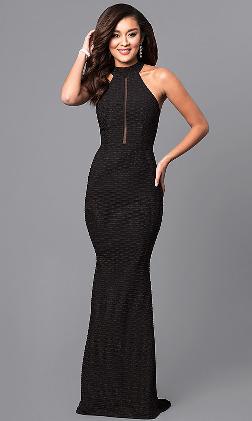 Image of high-neck jersey crepe black long prom dress. Style: MCR-2025 Front Image