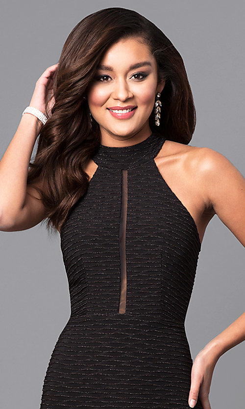 Image of high-neck jersey crepe black long prom dress. Style: MCR-2025 Detail Image 1