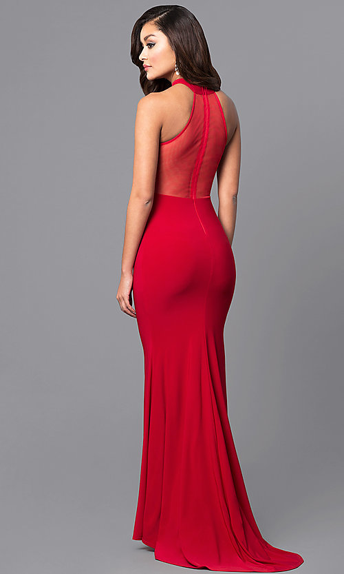 Image of long high-neck prom dress with sheer back. Style: MCR-2023 Back Image