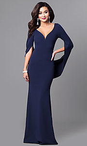 V-Neck Long Navy Blue Prom Dress with Sleeves