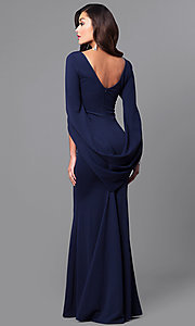 Image of v-neck long navy blue prom dress with sleeves. Style: MCR-2101L Back Image