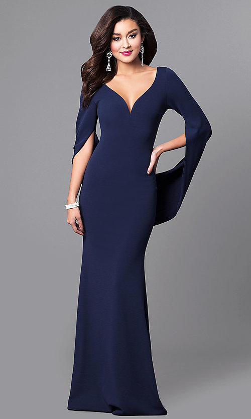 Image of v-neck long navy blue prom dress with sleeves. Style: MCR-2101L Front Image