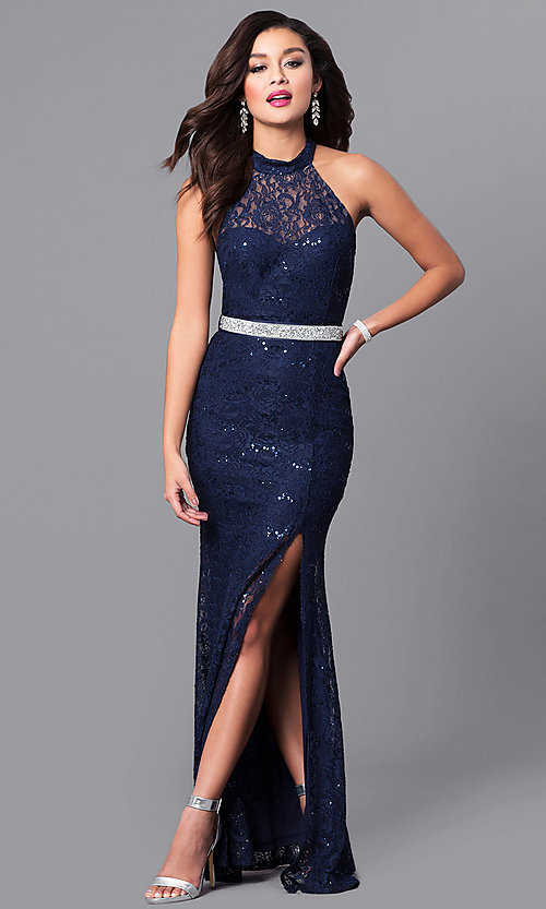 Sequined-Lace Long High-Neck Prom Dress - PromGirl