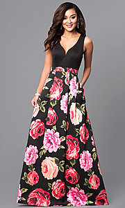 Long V-Neck Prom Dress with Floral Print Skirt
