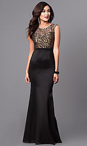 Long Black and Gold Prom Dress