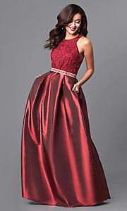 Long Prom Dress with Ribbon Lace Bodice and Taffeta Skirt