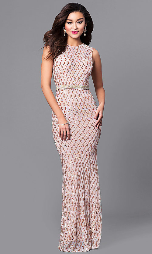 Image of long sequin-embellished prom dress with beaded belt. Style: MCR-2166 Front Image
