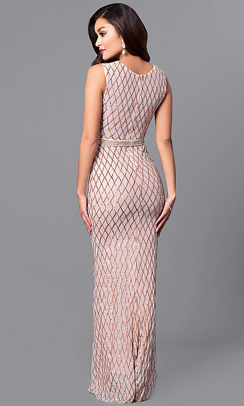 Image of long sequin-embellished prom dress with beaded belt. Style: MCR-2166 Back Image