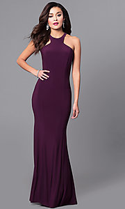Image of long prom dress with cut-in shoulders. Style: MCR-2160 Front Image