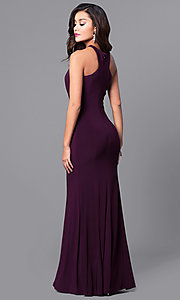 Image of long prom dress with cut-in shoulders. Style: MCR-2160 Back Image