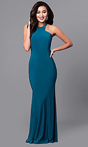 Image of long prom dress with cut-in shoulders. Style: MCR-2160 Detail Image 2