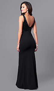 Image of black v-neck long formal dress with sequin bodice. Style: MCR-2139 Back Image