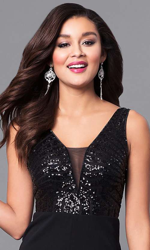 Image of black v-neck long formal dress with sequin bodice. Style: MCR-2139 Detail Image 1