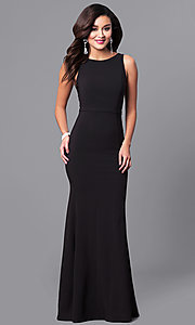 Image of black long prom dress with sequined v-back. Style: MCR-2133 Front Image