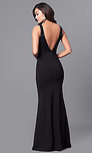 Image of black long prom dress with sequined v-back. Style: MCR-2133 Back Image