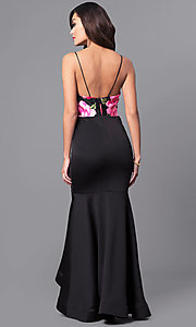 Image of long black formal dress with floral-print bodice. Style: MCR-2176 Back Image