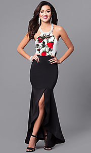 Image of mermaid prom dress with slit and floral-print bodice. Style: MCR-2097 Back Image