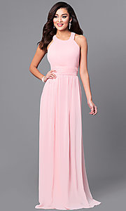 Image of a-line long chiffon prom dress with ruched bodice. Style: MCR-1903 Front Image