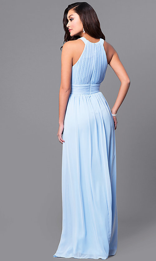 Image of a-line long chiffon prom dress with ruched bodice. Style: MCR-1903 Back Image