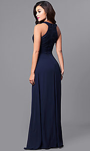 Image of navy high-neck long prom dress with lace bodice. Style: MCR-2038 Back Image