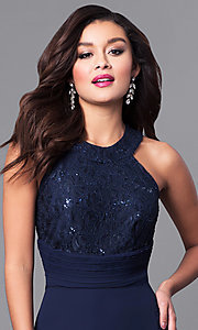 Image of navy high-neck long prom dress with lace bodice. Style: MCR-2038 Detail Image 1