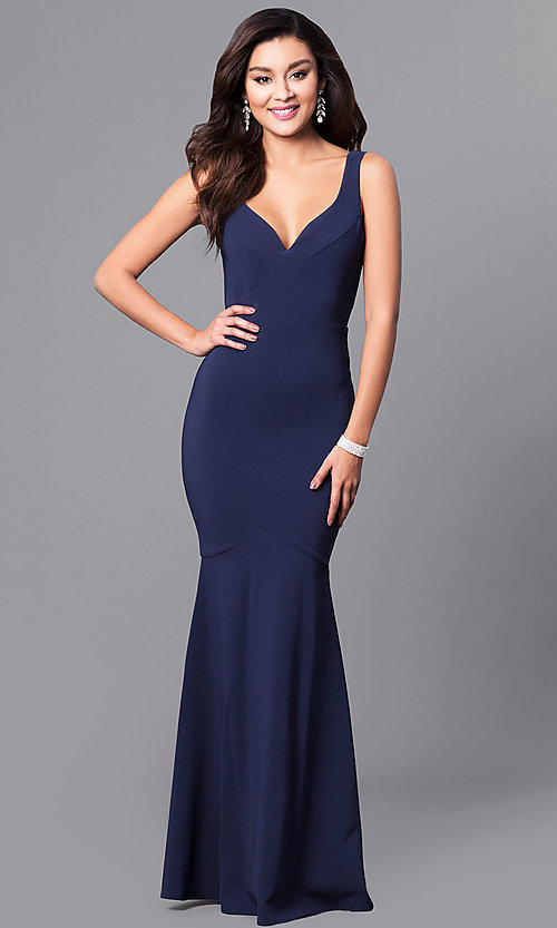 Image of long navy blue mermaid prom dress with v-neck. Style: MCR-2060 Front Image