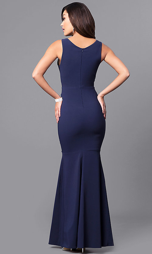 Image of long navy blue mermaid prom dress with v-neck. Style: MCR-2060 Back Image
