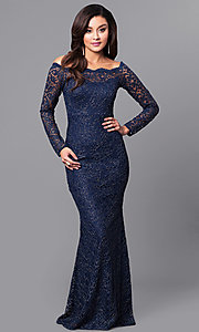 Off-the-Shoulder Lace Long Prom Dress with Sleeves