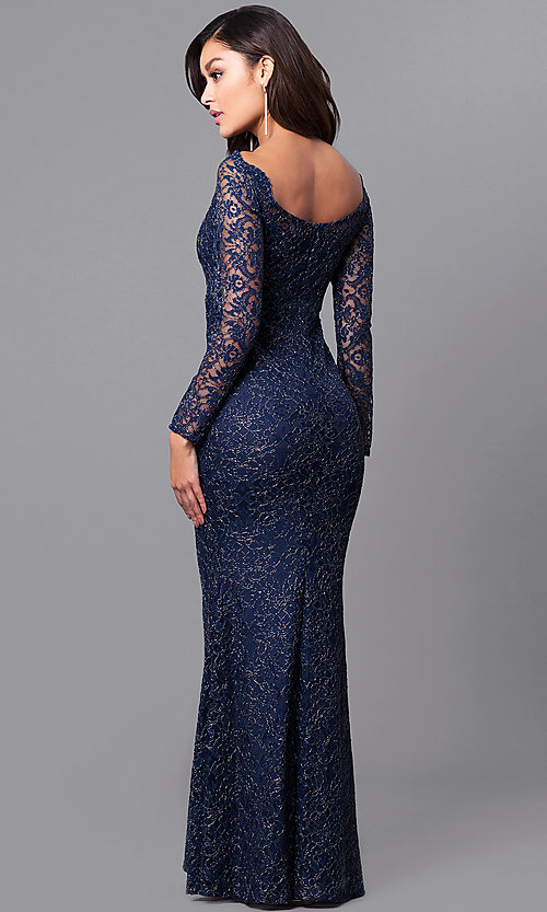 Lace Long-Sleeve Off-Shoulder Prom Dress - PromGirl