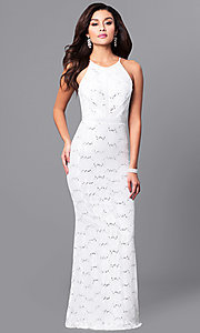 Long Lace Prom Dress with Sequin Embellishments