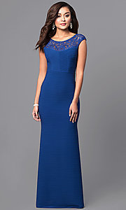 Long Royal Blue Textured-Jersey Formal Dress with Lace
