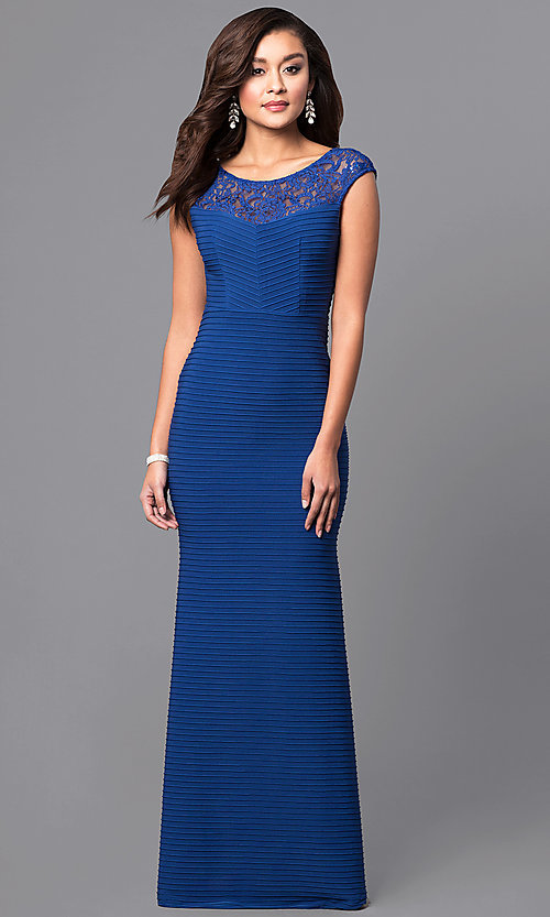 Image of long royal blue textured-jersey formal dress with lace. Style: MCR-2156 Front Image