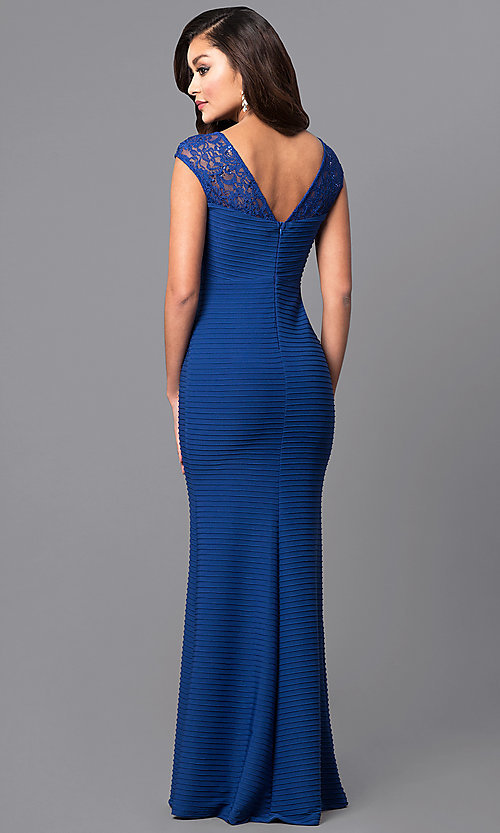 Image of long royal blue textured-jersey formal dress with lace. Style: MCR-2156 Back Image