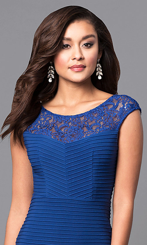 Image of long royal blue textured-jersey formal dress with lace. Style: MCR-2156 Detail Image 1