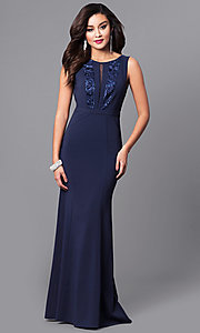 Long Navy Prom Dress with Lace and Sequin Bodice