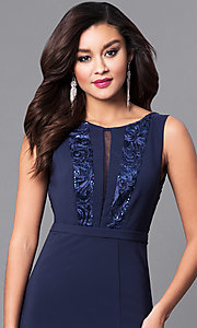 Image of long navy prom dress with lace and sequin bodice. Style: MCR-2123 Detail Image 1