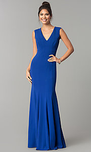 Image of sleeveless v-neck long formal prom dress. Style: MCR-2113 Front Image