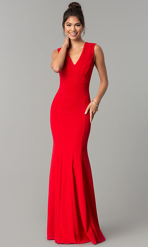Image of sleeveless v-neck long formal prom dress. Style: MCR-2113 Detail Image 1
