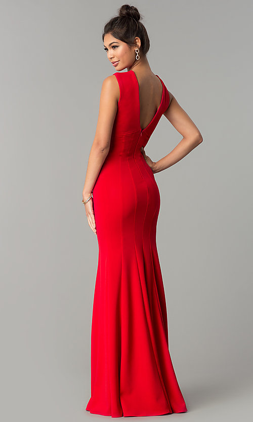 Image of sleeveless v-neck long formal prom dress. Style: MCR-2113 Detail Image 2