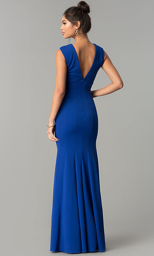 Image of sleeveless v-neck long formal prom dress. Style: MCR-2113 Back Image