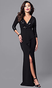 3/4 Sleeve Prom Dress with Sequin Detail and Front Slit