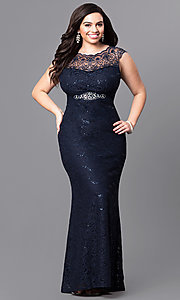 Lace Plus-Size Long Prom Dress