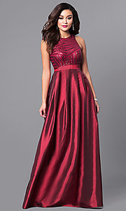 Long Berry Red Prom Dress with Pockets